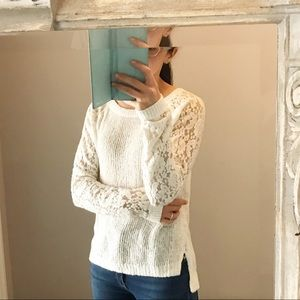 Abercrombie gold fleck lace sleeve top